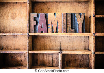 Family Concept Wooden Letterpress Theme