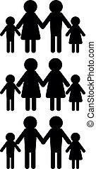minimalistic illustration of different family models with adults having children, gender equality concept, eps10 vector