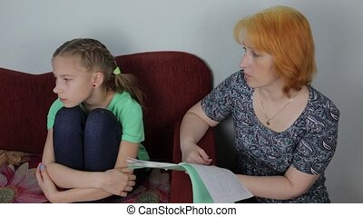 Family conflict - mother scolds daughter for bad schooling