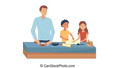 Family Cooking Concept. Happy Family Is Cooking Meal Together In Kitchen. Father With Children Cook Pizza And Have A Good Time Together During Weekend Or Holidays. Cartoon Flat Vector Illustration