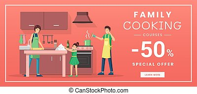 Family cooking courses web banner template. Culinary training classes for parents with children internet promo poster. Special offer, 50 percent discount advertisement with flat illustration