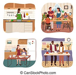 Family Cooking Dish Together in Kitchen Vector