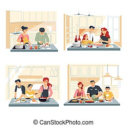 Family cooking food or dinner at home kitchen