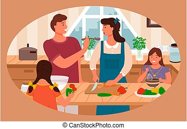 Family Cooking in Kitchen Parents and Kids at Home