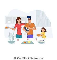 Family cooking in kitchen. Parents teaching kid at home