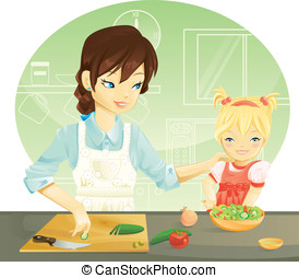 Family cooking - Mother and her daughter cooking
