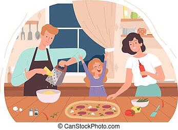 Family cooking pizza. Mother daughter bake dinner, parents and child spend time together. Man woman girl at kitchen vector illustration
