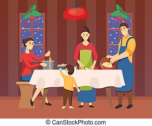 Family Cooking Together for Xmas Holiday Vector