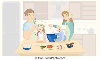 Family cooking together.