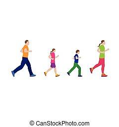 family., correndo, sports., famiglia