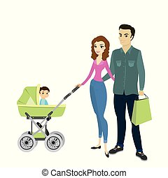 Family couple and a child in a pram