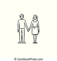 Family couple expecting a baby hand drawn outline doodle icon.