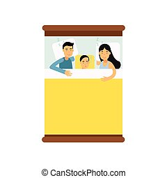 Family couple sleeping on the bed with their son cartoon, view from above vector illustration