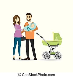 Family couple with newborn baby and pram