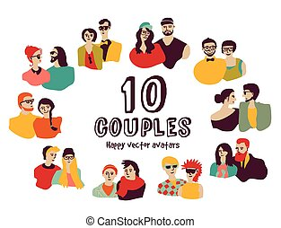 Family couples avatars people faces color set.