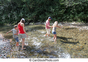 Family crossing a river