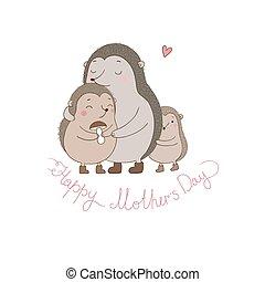 Family cute hedgehogs. Mom and kids. Cartoon Animals.