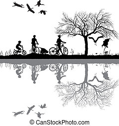 Family cycling in the countryside - illustration of women, ...