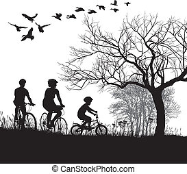 Family cycling in the countryside - illustration of women,...
