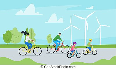 Family cycling together vector illustration