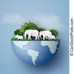 family., día de tierra, elefantes