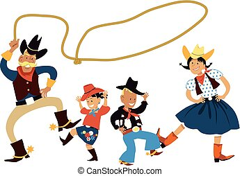 Couple dancing country western dance with their children, EPS 8 vector illustration