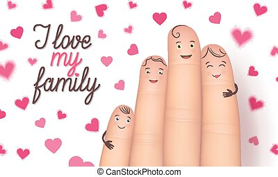 Family day finger flat card