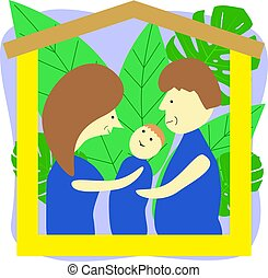 Family Day Greeting Cartoon Card. Father, Mother and Son Sitting under Metaphor Wooden House Roof.