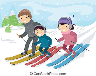 Family Day - Illustration of a Family Skiing Together
