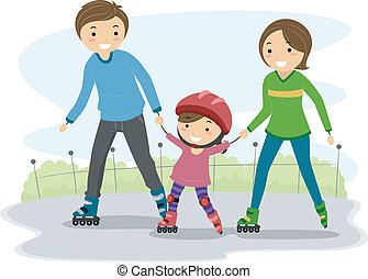 Illustration of Parents Teaching their Kid to Rollerblade