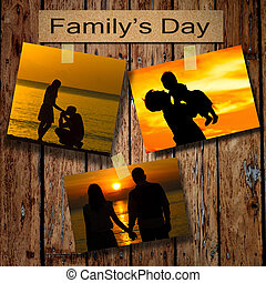 Family days with three silhouette pictures on grunge wooden background
