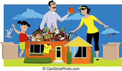 Family decluttering a house