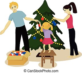 Family decorate Christmas tree isolated on white