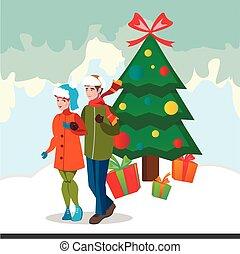 Family decorating christmas tree.