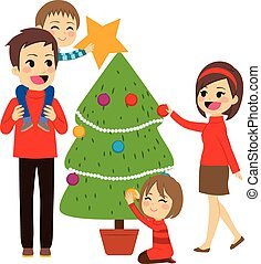 Family Decorating Christmas Tree - Happy family decorating...
