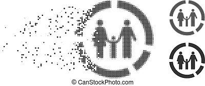 Family Diagram Fragmented Pixel Halftone Icon