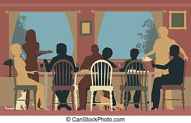 Family dining - Editable vector colorful silhouettes of a ...