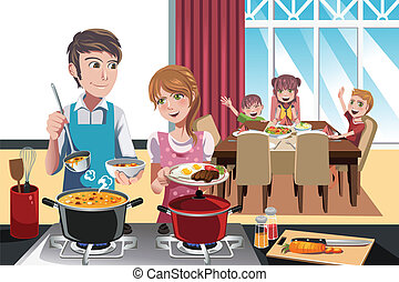 A vector illustration of family getting ready for dinner