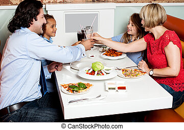 Family dinner at restaurant