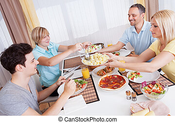 Family dinner being served