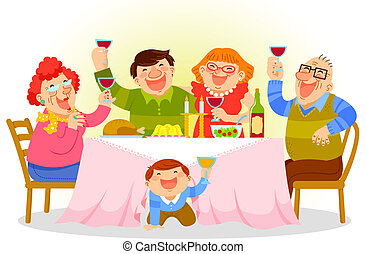 A Vector Illustration Of Family Having Dinner Together On