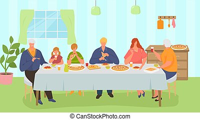 Family dinner, happy people take meal together, vector illustration. Man woman kid people character eat pizza at home. Mother father grandparents