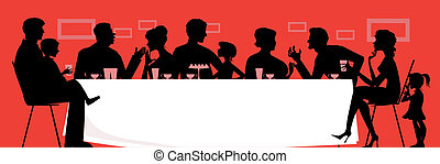 Family dinner - Silhouettes of a dinning family