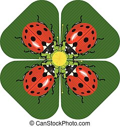 Family dinner of ladybugs at the round table