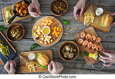 Family dinner table top view of homemade meal stock photography
