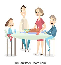 Family dinner with turkey.