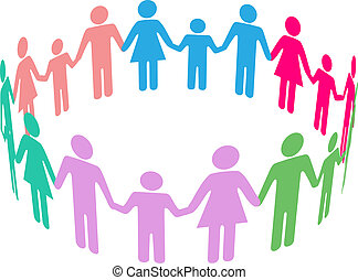 People group of diverse families join together in community circle holding hands