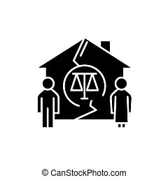 Family divorce black icon, vector sign on isolated background. Family divorce concept symbol, illustration