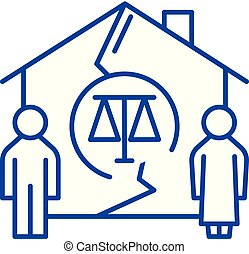 Family divorce line icon concept. Family divorce flat  vector symbol, sign, outline illustration.