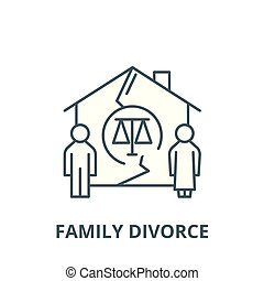 Family divorce vector line icon, linear concept, outline sign, symbol